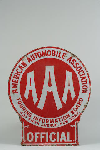A rare American Automobile Association 'Official' enamel sign,