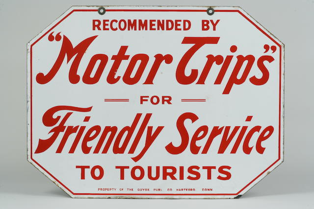 A 'Motor Trips for Friendly Service' enamel sign for the Guyde Publ Co of Hartford Connecticut,