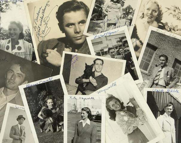 An assorted group of black and white snapshots and other photographs of movie stars, 1940s