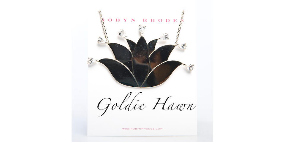 Goldie Hawn Robyn Rhodes Sterling Lotus necklace with Swarovski crystals