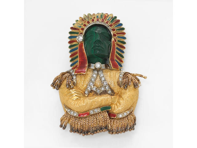 A malachite, diamond and enamel brooch, W.A. Sarmento