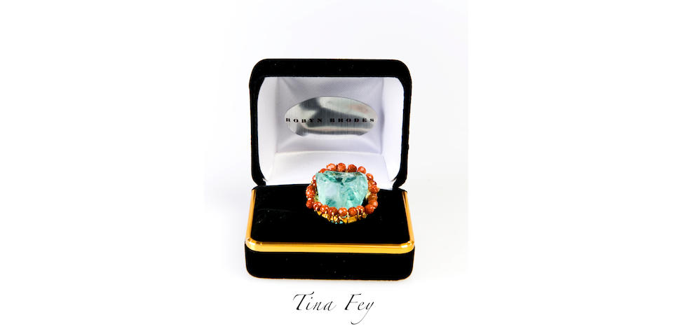 Tina Fey Robyn Rhodes Gold and Aquamarine Glass with Sunstone Ring