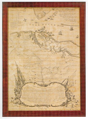 Bauman, Sebastian, Major. To His Excellency Genl. Washington. This Plan of the Investment of York and Gloucester...'' Philadelphia: 1782. 670 x 475 mm. Framed. Some water staining at lower margin. A very rare large scale map of the situation of the opposing armies of the Battle of Yorktown, the first American map of the final battle of the Revolutionary War. At the lower portion of the engraving is a large cartouche with explanations, rising from which on the right flank is the first printed depiction of the Stars & Stripes. Guthorn 19; Sellers & Van Ee, 1471; Wheat & Brun, 541.