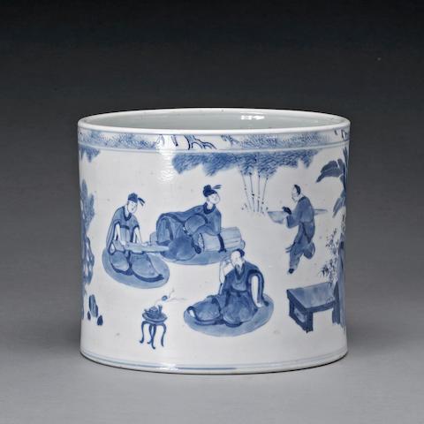 A blue and white porcelain brush pot Kangxi