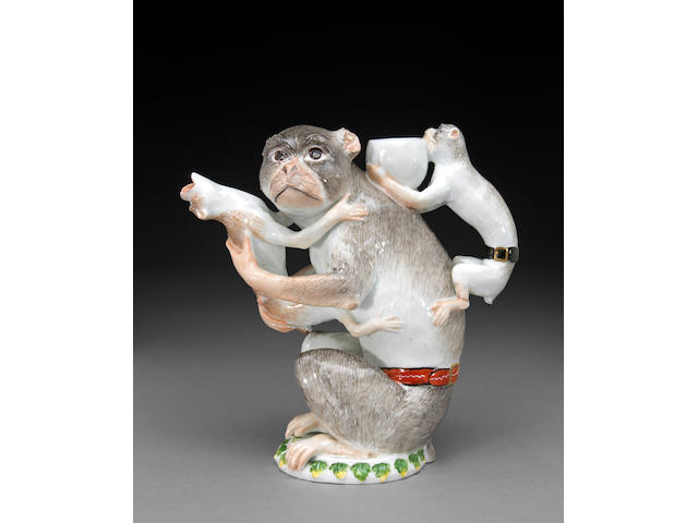 A Meissen porcelain monkey teapot (affenmutter als teekanne)