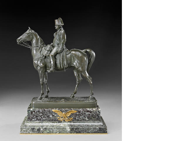 A French patinated bronze equestrian figure of Napoleon Bonaparte