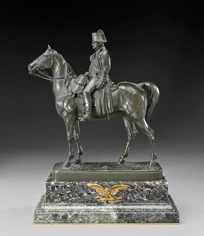 A French patinated bronze equestrian figure of Napoleon Bonaparte