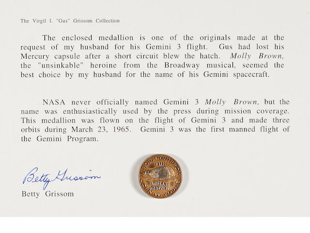 FLOWN Gemini 3 MEDALLION, Gold   (Grissom Collection)