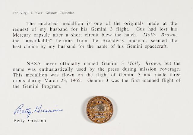 FLOWN Gemini 3 MEDALLION, Gold   (Grissom Collection)