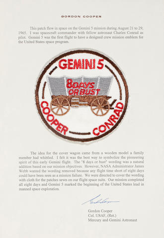 MISSION EMBLEM CARRIED ON GEMINI 5.