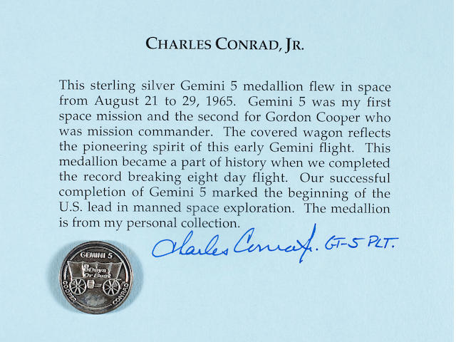FLOWN Gemini 5 MEDALLION (Conrad Collection)