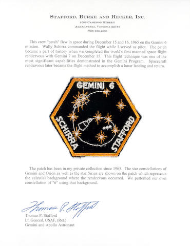 FLOWN GEMINI 6 MISSION EMBLEM  (Stafford Collection)