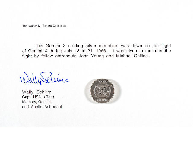 FLOWN Gemini 10 MEDALLION  (Schirra Collection)