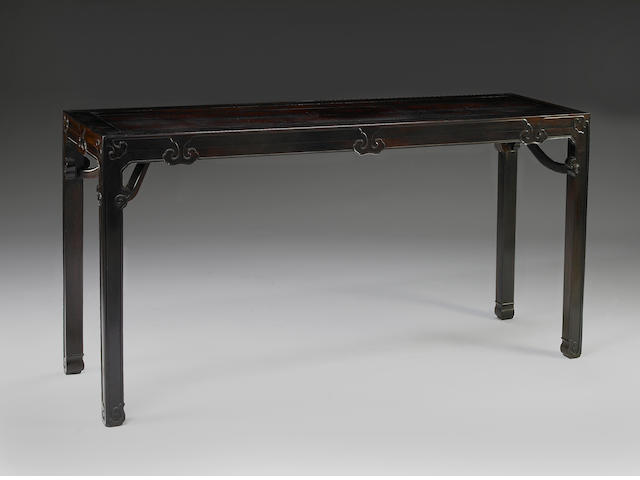 A rare Chinese Zitan painting table with giant's arm braces