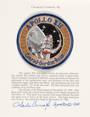 FLOWN APOLLO 12 CLOTH CREW EMBLEM carried to LUNAR SURFACE