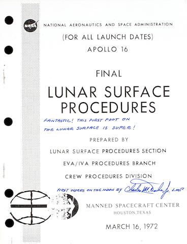 Apollo 16 Lunar Surface Procedures, Duke Signed