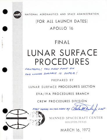 Apollo 16 Lunar Surface Procedures, Duke Signed