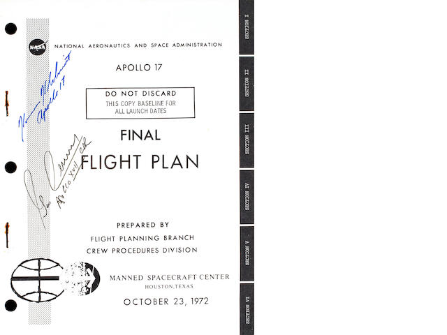 APOLLO 17 FINAL FLIGHT PLAN, Signed by Cernan and Schmitt
