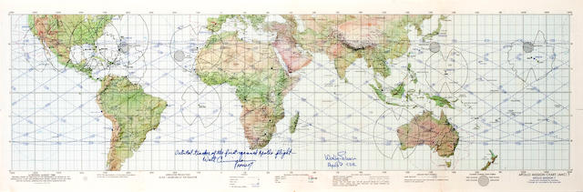 APOLLO 7 EARTH ORBIT CHART, Cunn. and Schirra Signed