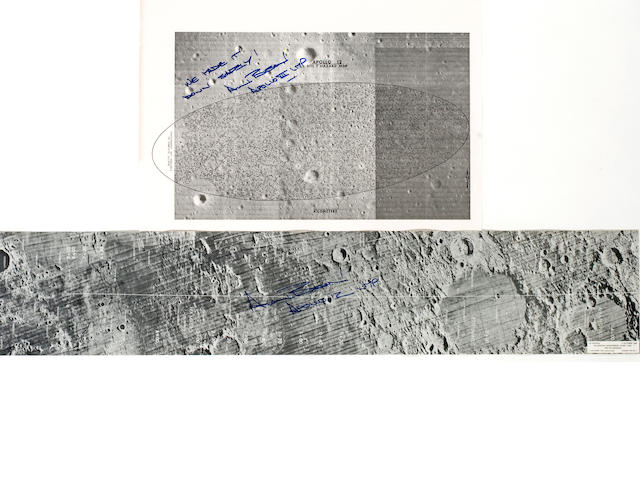 APOLLO 12 LANDING SITE, 2 Charts Signed by Bean