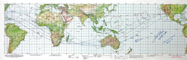 APOLLO 13 EARTH ORBIT CHART, Haise Signed
