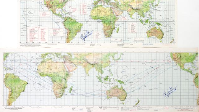 APOLLO 14 EARTH ORBIT CHARTS,  2, each Mitchell Signed