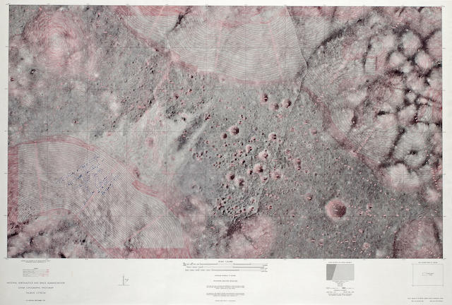 Taurus Littrow Lunar Topographic Photomap with Cernan long inscriptions