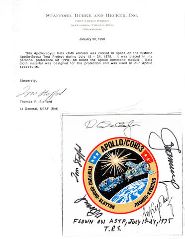EMBLEM CARRIED ON APOLLO SOYUZ TEST PROJECT.
