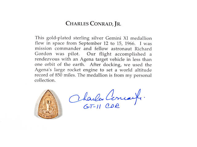 FLOWN Gemini 11 MEDALLION  (Conrad Collection)