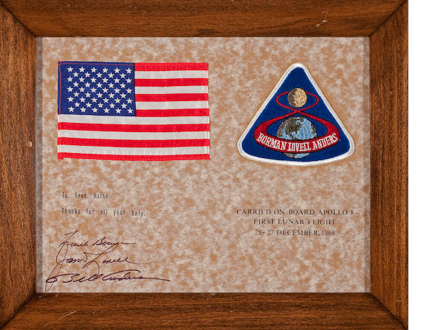 FLOWN on Apollo 8 US Flag and Apollo 8 four inch Emblem