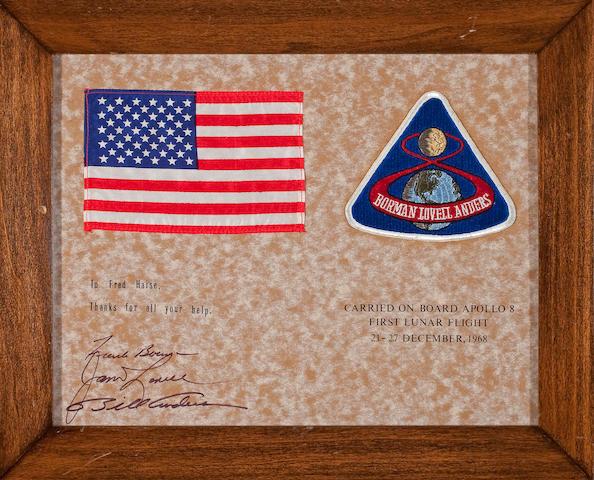 FLOWN on Apollo 8 US Flag and Apollo 8 four inch Emblem