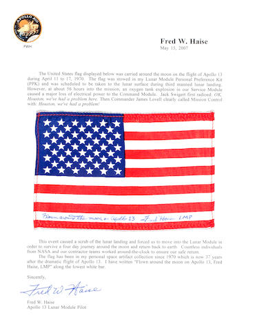 FLOWN Apollo 13 US Flag on Haise Letter