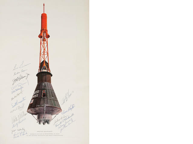 Color Lithograph Signed, The Mercury Spacecraft (McDonnell)