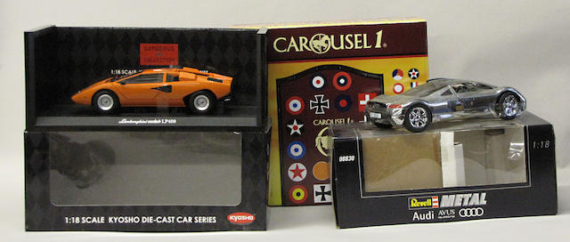 A collection of toy and model cars,