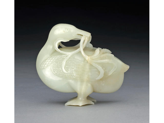 A white jade carving of a duck  18th Century