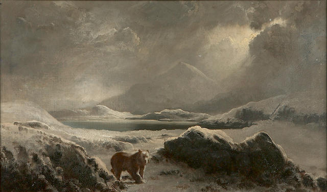 Follower of William Bradford (American, 1823-1892) A polar bear in the Arctic 12 x 20in
