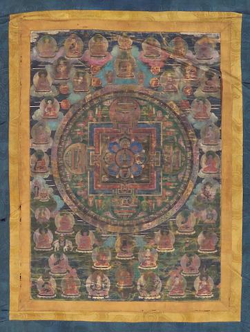 A Tibetan mandala thangka 18th/19th Century