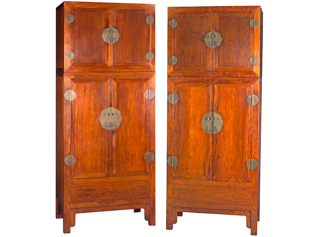 A massive pair of huanghuali two section hat cupboards 18th Century