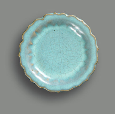 A fine Junyao saucer dish with a barbed rim Northern Song Dynasty