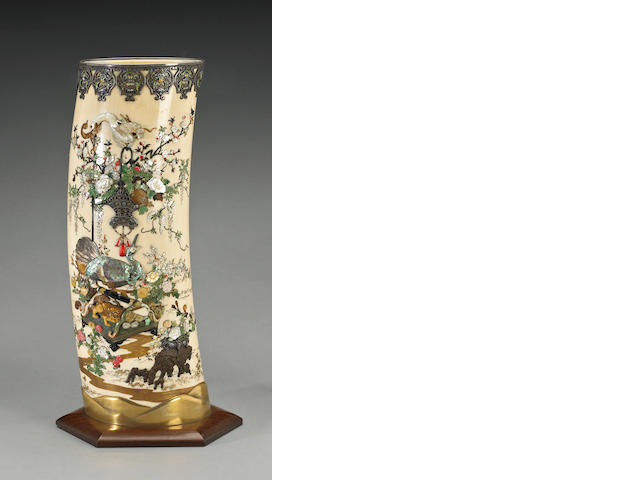 A Shibayama-style decorated ivory tusk with enamel and gold lacquered accents Meiji Period