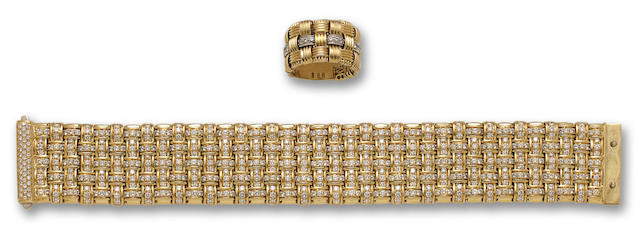An eighteen gold and diamond bracelet and ring, Roberto Coin