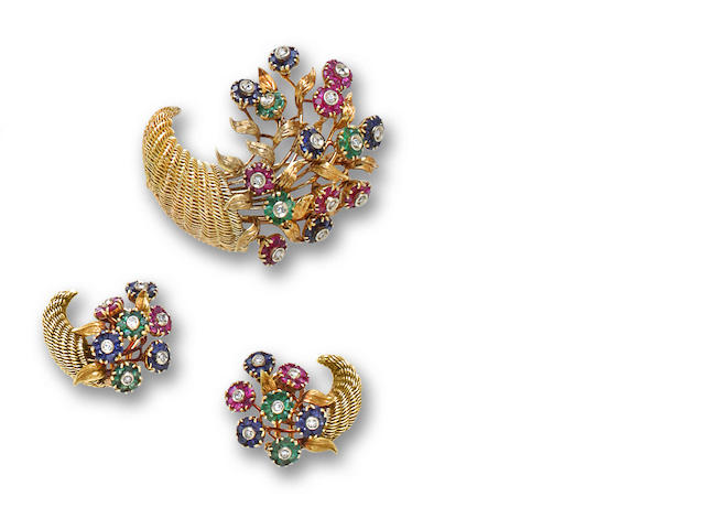A diamond and gem-set brooch and earclips, Tiffany & Co.