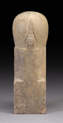 A carved sandstone mukhalinga Pre-Angkor Period, 8th Century