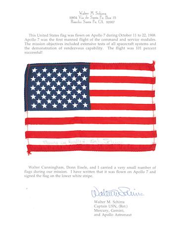 US FLAG CARRIED ON APOLLO 7.