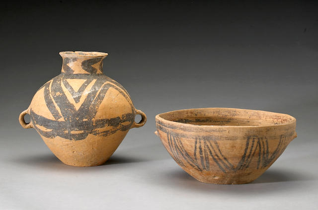 Group of two Neolithic potteries, one bowl and one jar