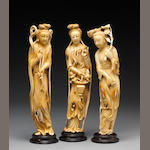 A group of three carved and tinted ivory figures of beauties, China, 20th Century