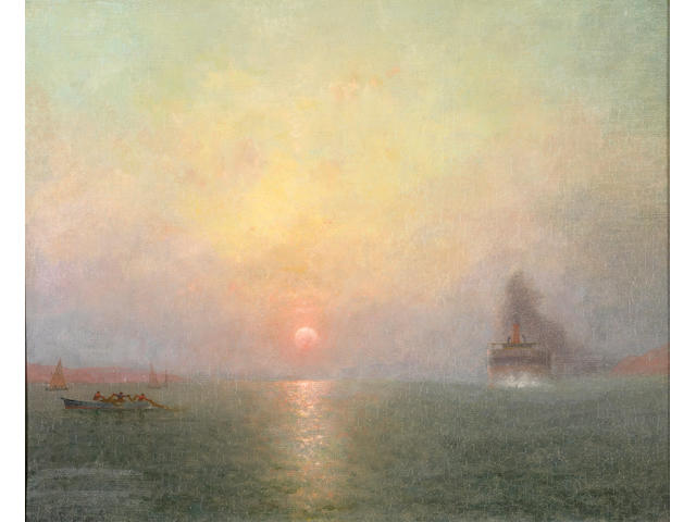 Charles Dormon Robinson (1847-1933) 'Sunset over the Bay' 16 1/4 x 20in