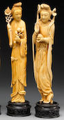 Two tinted ivory figures of beauties, one holding flowers, the other an offering bowl, China, 20th C