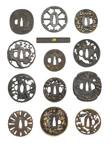 A group of tsuba and one kozuga