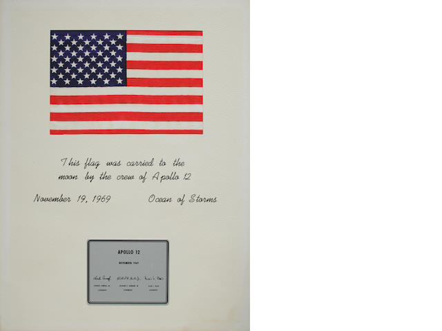 UNITED STATES FLAG CARRIED TO THE MOON ON APOLLO 12.